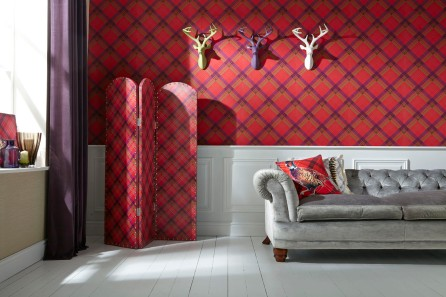 paravan-decorativ-tartan-rosu